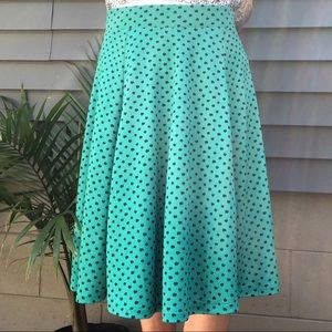 Lands End A Line Midi Skirt Turquoise Pattern